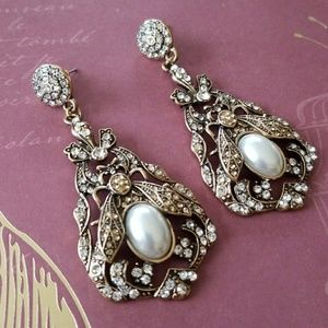 Vintage EarringsVictorian Deco Insects Art Nouvezu